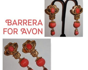 BARRERA For Avon Gold Tone Simulated Coral Vintage Designer Dangle Clip On Earrings