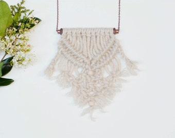 Statement necklace | boho jewelry | yarn macrame jewelry | adjustable copper necklace | rustic jewelry gift idea | one of a kind necklace