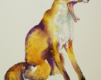 Fox painting - original watercolor painting