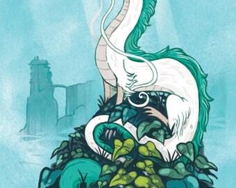 Haku dragon print 8.5 by 11, Ghibli, wall art, children's room print, kids room,