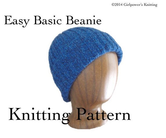 Girlpowers Basic Beanie PDF Knitting Pattern Easy Hand