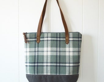 Zipper Tote Bag in Forest Flannel with Waxed Canvas