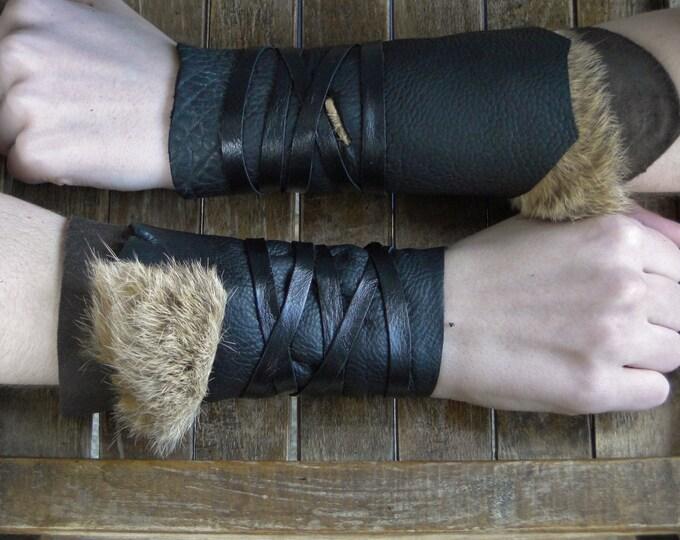 Leather Cuffs - Warrior Viking Tribal Larp Costume Cosplay - Pair #14c