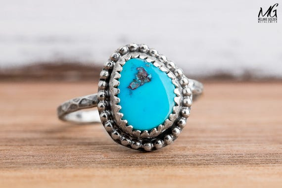 Morenci Turquoise Gemstone Ring in Sterling Silver - Size 5