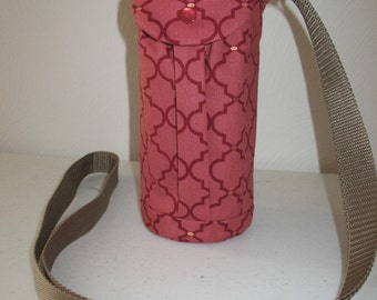 Water Bottle Holder Sling//Walkers Insulated Water Bottle Cross Body Bag// Hikers Water Bag-Marsala Moments Fabric