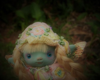 sweet blue  ooak posable   tiny  fairy fairie fae