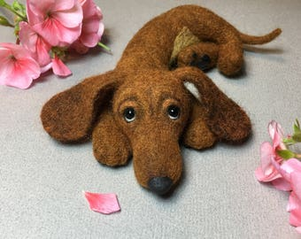 Dachshund, Red Dachshund Puppy, Dog, Needle felted Toy, Custom Order Only by Marina Lubomirsky