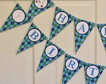 FORE! ARGYLE GOLF Happy Birthday or Baby Shower Party Banner - Party Packs Available