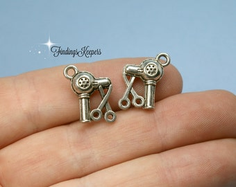 8 Hairdresser Charms Antique Silver Double Sided  ts1261