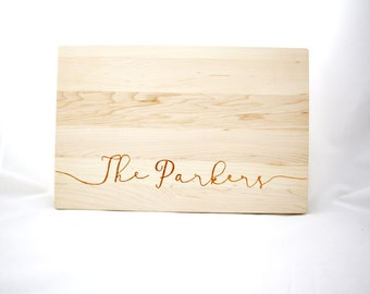 Personalized wood cutting board. Last Name Wooden Cutting Board. Custom Wedding Gift. Thick chopping block. As Seen On The Ellen Show.