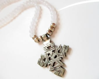 Ethiopian Cross Necklace - Gemstone Rasta Necklace - Ethiopian Pendant - Jade Stone Beads - White Jade Rasta Necklace - Rastafari Jewelry