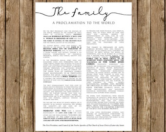 INSTANT DOWNLOAD, Family Proclamation, Large, LDS Printable, Proclamation to the World,  Mormon print, lds decor, 30x40, modern style,