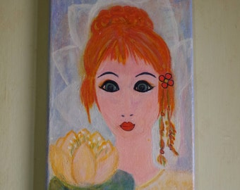 "Free shipping,Lotus, Original Mixed Media Painting on 8"" x 12"" Canvas"