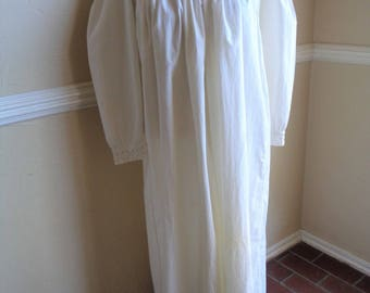 Vintage Nightgown Ornate Needlework Cathedral Window Lace Yoke Hand Made Women's Petite Nightdress Display or Costume
