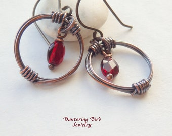 Garnet Earrings, Antiqued Copper Hoop with Red Gemstone, Unique Artisan Metalwork Wirewrapped Copper Jewelry, January Birthstone Gift