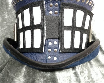"Love Doctor Who, Leather Tardis Tribute, ""Shorty Coachman"" Top Hat"