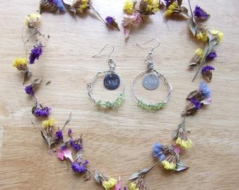 Wire Hoop Earrings, Stone Chip Earrings, Word Charm Disc Earrings, Word Tag Inspiration Earrings, Green Stone Chip Hoops, Wire Wrap