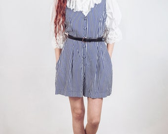 Vintage striped jumpsuit, white and blue size medium ,overalls , US 8