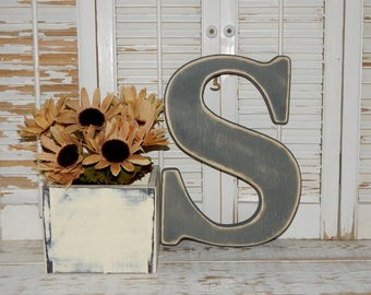 Wooden Letter S Distressed Wood letters Made To order Photo Props