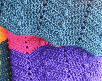 Crochet Baby Blanket Pattern Rainbow Ripples and Popcorns Easy