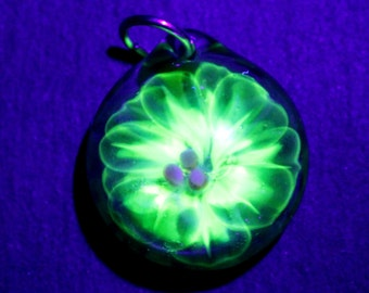 UV Reactive Glass Flower Pendant, Implosion Lampwork Necklace, Hand Blown Boro Jewelry, Trapped Flower in Glass