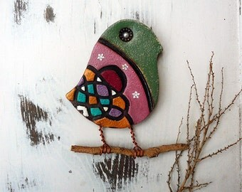 Handmade Bird Wall Hanging, Holiday Gift, One of A Kind Ceramic Baby Bird Ornament, Whimsical Bird Wall Decor, Ready to Ship.