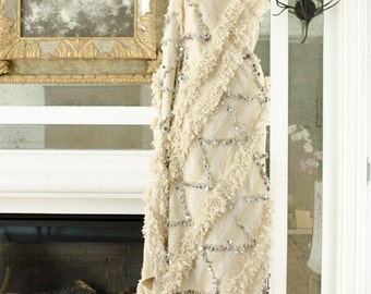 Vintage Moroccan Wedding Blanket Throw Handira Bedspread Wedding Gift Bride