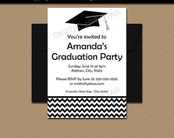 Black and White Graduation Announcement Template, Boy Graduation Invitation, Girl Graduation Invitation PRINTABLE, Grad Party Invite G3