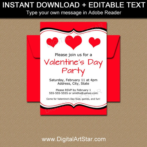 Valentine Invitations Valentines Day Invitation Template - Party invitation template: class party invitation template
