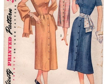 """1950's Simplicity One Piece Dress and Stole pattern - Bust 34"""" - UC/FF - No. 4239"""