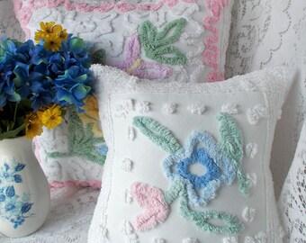 Chenille Pillow, Vintage Chenille Pillow, Cotton Pillow, Handmade Pilllow, Accent Pillow, Floral pillow, Nursery Pillow, Pillow #C7