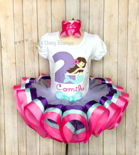 Mermaid Birthday Ribbon Trimmed Tutu Outfit
