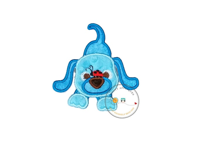 Minky blue puppy with red lady bug iron on patch, Embroidered fabric puppy applique for kids clothing, 4x4 little blue dog iron on patch