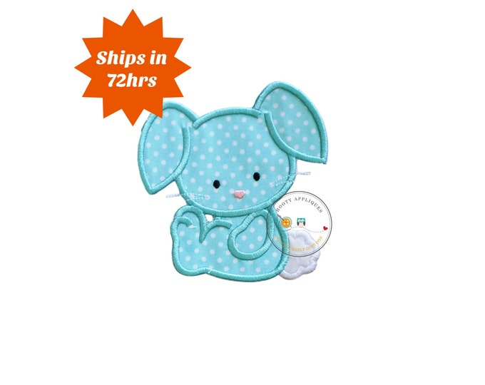 SMALL Cotton tail bunny 4x4 iron on patch, teal bunny,Machine embroidered Easter bunny patch, Personalize Easter patch, Ready to ship