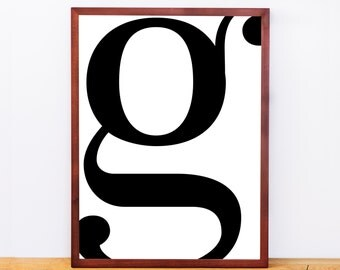Serif Letter G, Typography Print, Letter Print, Printable Monogram, Printable Art, Minimal Decor, Black and White Wall Art, Digital Download