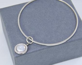 Charm Bangle Bracelet   Pearl Charm   Sterling Silver Stacking Bangle