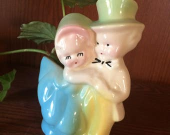 Shawnee Ceramic Sweethearts Planter Loving Couple Dancing Couple Vintage
