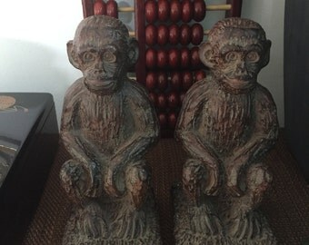 CLEARANCE!! Vintage Sitting Monkey Bookends / Monkey Bookends