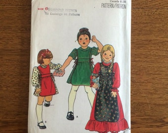 Children's Dress and Apron Sewing Pattern, 1970's Vintage Pattern, Butterick 5660 Size 6