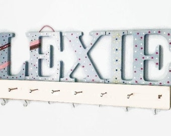 """Personalized Jewelry Hanger Organizer 19"""" Jewelry Board with Name Letters or Initials. Great New Baby or Housewarming Gift"""