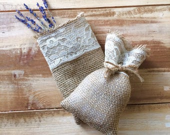 Burlap & Lace Favor Bags--With Twine Included--Two Sizes Available--Wedding/Party/Bridal Shower--Rustic/Chic--Shabby Chic--Natural