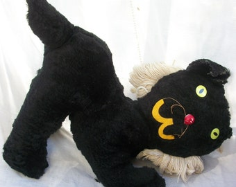 Black Kitty Cat ~ Darling Vintage Cat Totally ADORABLE  ~ Stuffed/Plush ~ Carnival Toy / Game Prize  ~ Meow ~ Collectible