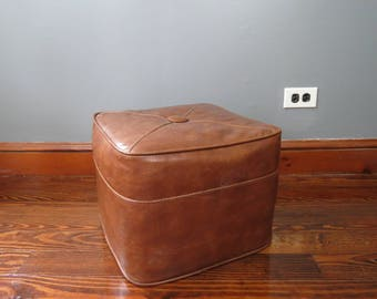 Vintage Vinyl Footstool // Mid Century Retro Faux Leather Brown Cube Hassock Ottoman Stool Tufted Style Center Living Room Furniture Mod