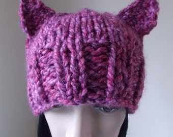 Pink Cat Hat, fuchsia pink pussycat hat, hand knit from wool blend strawberry pink yarn for women's marches, protest, cat halloween costume