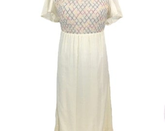 vintage 1960s rainbow smock dress / Peggy Barker / cotton blend / maxi dress / women's vintage dress / size small