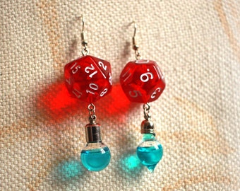 D20 and D12 Dice Geek Earrings with Mana Potion