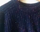 Vintage Gap Marled Navy Blue Wool Ribbed Sweater Womens Medium 80s