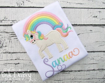 Girls Unicorn Shirt - Pastel Rainbow Unicorn Shirt - Sparkly Glitter Unicorn - Over the Rainbow - Unicorn Appliqué Shirt - Monogrammed Shirt