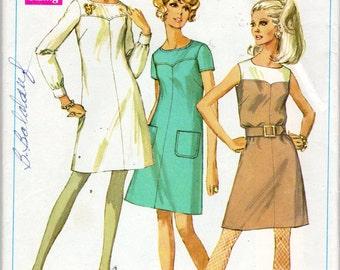 """1960s Women's Collarless A-Line Dress Pattern - Size 12, Bust 34"""" Simplicity 7754"""