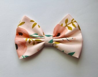 Cecilia Hair Bow - Light Pink Floral Pattern Hair Bow with Clip - Gifts for Girls, Teens, Women